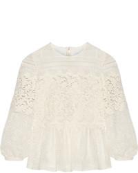 Burberry Prorsum Paneled Cotton Blend Lace Peplum Blouse Off White