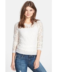 White Lace Long Sleeve T-shirt