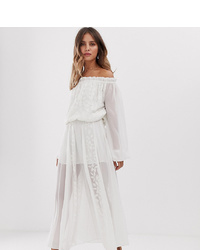 White Sand Off Shoulder Lace Applique Midaxi Dress In Vintage Cream