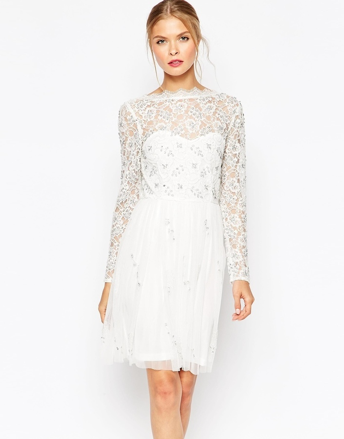 250dbed80cc0 ... White Lace Midi Dresses Frock And Frill Lace Skater Dress ...