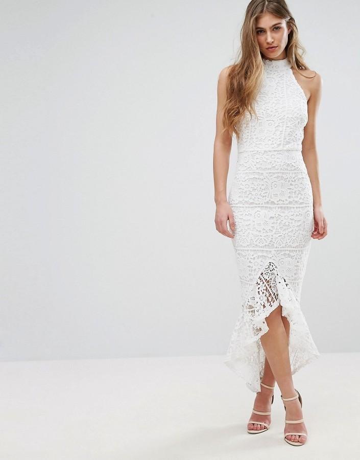 Lace Halterneck Fishtail Midi Dress