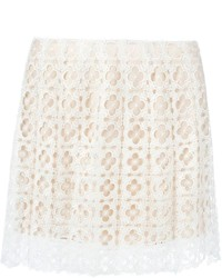Oscar de la Renta Perforated Lace Skirt