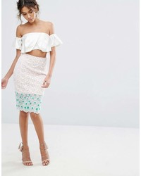 Endless Rose Floral Embroidered Lace Pencil Skirt