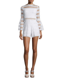 Alexis Jinna Lace Bell Sleeve Romper White