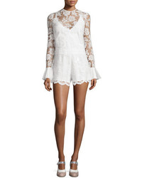 Alexis Yumi Long Sleeve Lace Romper White
