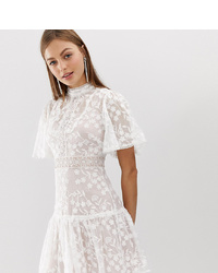 Forever New Lace Mini Spliced Dress With Fluted Sleeve In Pink And White