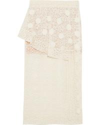 Stella McCartney Appliqud Cotton Blend Lace Midi Skirt Ivory