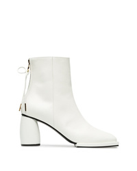 Reike Nen White 80 Square Toe Leather Ankle Boots