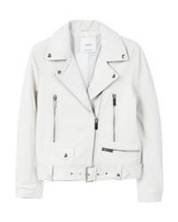 Mango Leather Jacket Off White