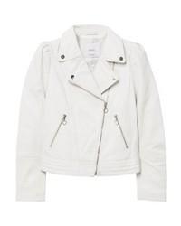 Mango Olivia Leather Jacket Off White
