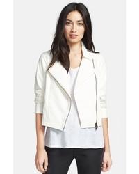 Eileen Fisher Short Leather Biker Jacket Medium