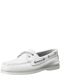 White Leather Boat Shoes