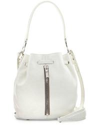 Elizabeth and James Cynnie Mini Crosshatch Leather Bucket Bag White
