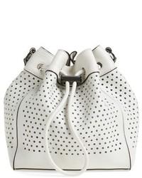 Rag & Bone Mini Aston Perforated Leather Bucket Bag White