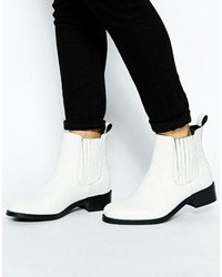 Asos Atonet Leather Chelsea Ankle Boots White