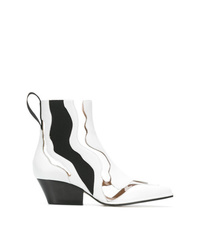 Sergio Rossi Cut Out Contrasting Ankle Boots