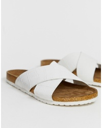ASOS DESIGN Flare Cross Sliders In Croc