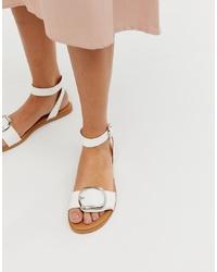 ASOS DESIGN Flora Flat Sandals In White