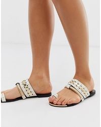 River Island Sandals With Toe Loop In White