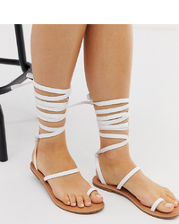 Raid Wide Fit Kruise White Toe Loop Ankle Tie Flat Sandals