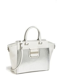 Milly Colby Metallic Leather Tote White