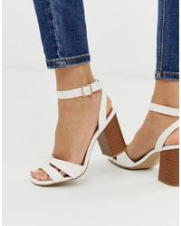 New Look Cross Block Heel Sandal In White