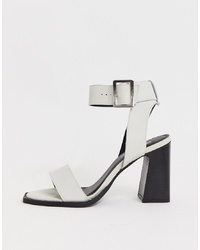 ASOS DESIGN Herbert Leather Block Heeled Sandals In White