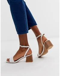 ASOS DESIGN Honeywell Block Heeled Sandals In White