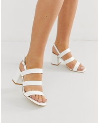 Raid Wide Fit Louise White Mid Heeled Sandals