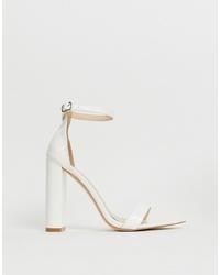 Public Desire Miao White Patent Block Heeled Sandals