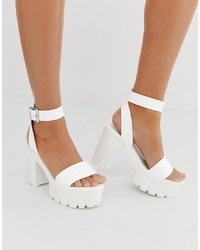 ASOS DESIGN Noticeable Ed Sandals In White