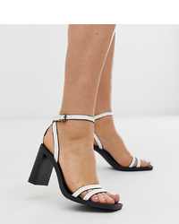 Bershka Setback Heeled Sandals In White
