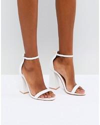 Public Desire Tess White Block Heeled Sandals Pu