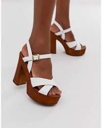 ASOS DESIGN Translate Heeled Sandals In White