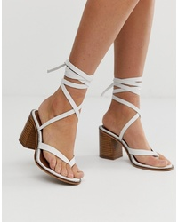 ASOS DESIGN Tropical Leather Tie Leg Sandals In White