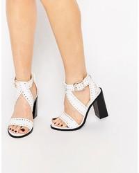 Senso Una White Stud Leather Heeled Sandals