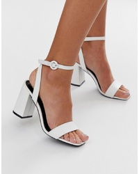 RAID Wink White Square Toe Block Heeled Sandals