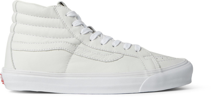 920a25d65f ... White Leather High Top Sneakers Vans Vault Og Sk8 Hi Lx Leather High  Top Sneakers ...