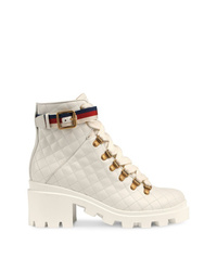 Gucci Quilted Leather Ankle Boot With Belt