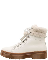 White Leather Lace-up Flat Boots