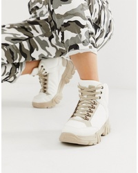 ASOS DESIGN Darkness Chunky Hiker Trainer Boots In Off White