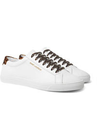 Saint Laurent Andy Leopard Print Calf Hair Trimmed Leather Sneakers