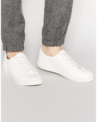Asos Brand Lace Up Sneakers In White