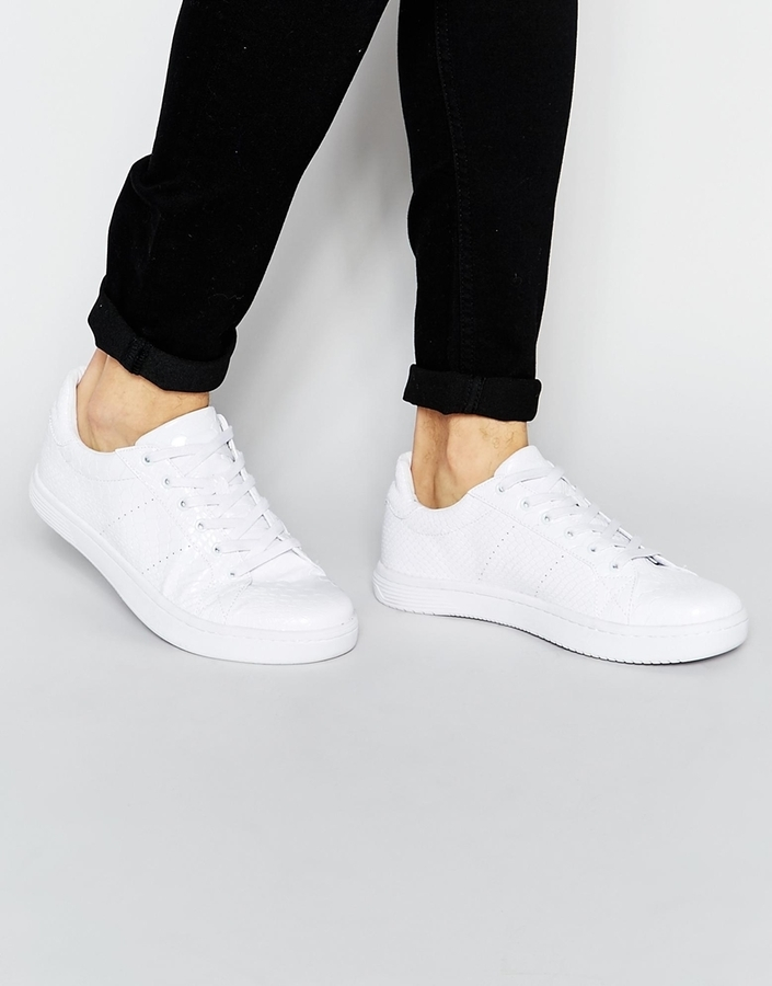 ... Asos Brand Lace Up Sneakers In White Snakeskin Effect ...