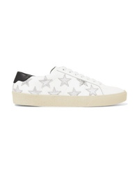 Saint Laurent Court Classic Appliqud Metallic Trimmed Leather Sneakers