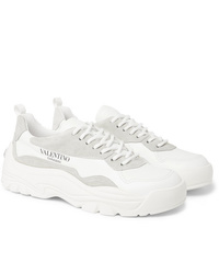 Valentino Garavani Gumboy Suede Trimmed Leather Sneakers