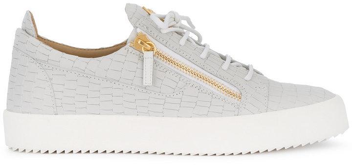 3f4978c176b66 Giuseppe Zanotti Design Grey Croc Frankie Sneakers, £470 | farfetch ...