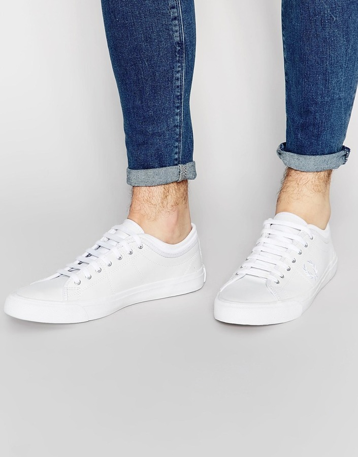 f122e1590a ... White Leather Low Top Sneakers Fred Perry Kendrick Tipped Cuff Leather  Sneakers ...