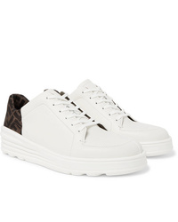 Fendi Logo Print Webbing And Leather Sneakers