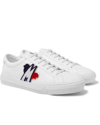 Moncler New Monaco Logo Appliqud Leather Sneakers